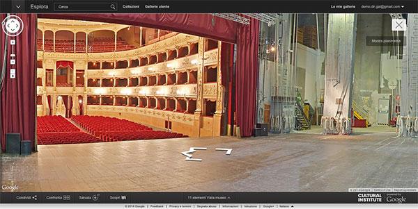 Dietro le quinte del Sipario Storico, nel Teatro della Pergola, con Google Street View