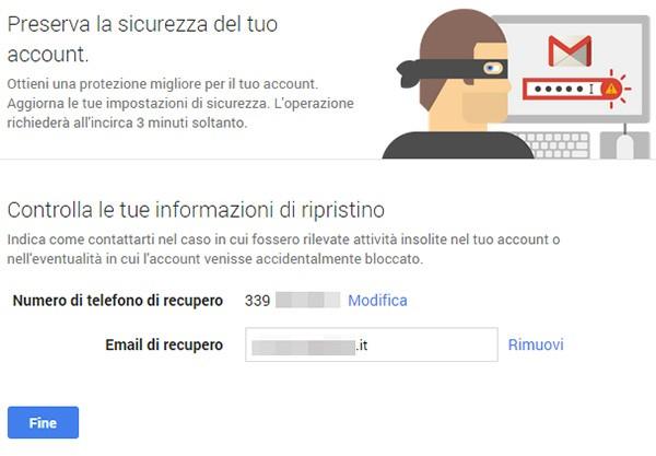 La configurazione guidata di Google per le impostazioni relative alla sicurezza online