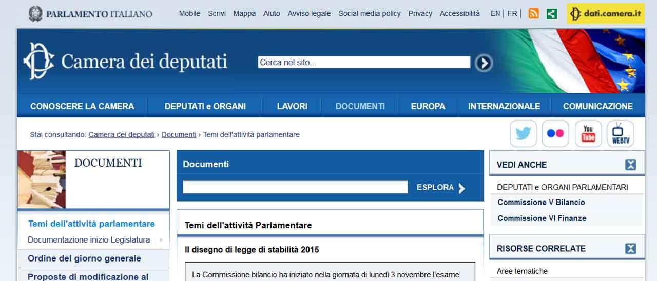 Sito web della camera esposto all agid webnews for Sito camera