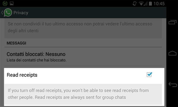 WhatsApp: l'opzione per disattivare la doppia spunta blu nella beta