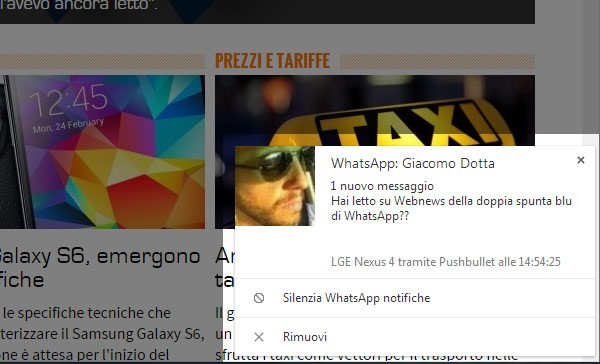 L'estensione Pushbuller per Chrome permette di leggere i messaggi di WhatsApp sul computer senza attivare la doppia spunta blu