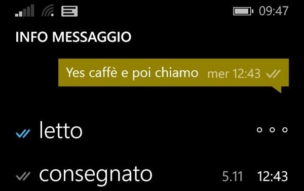 WhatsApp, informazioni dei messaggi