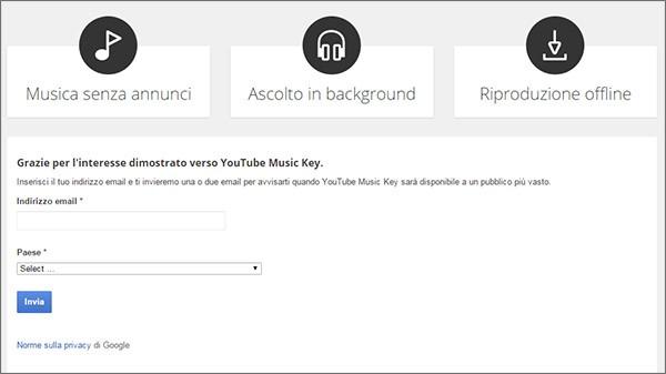Il modulo di registrazione alla beta di YouTube Music Key
