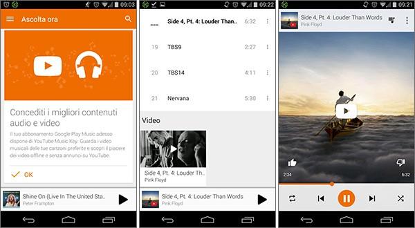 L'integrazione del servizio YouTube Music Key nella piattaforma Google Play Music, su smartphone Android