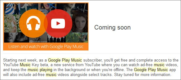 Google chiarisce i dettagli sull'integrazione fra YouTube Music Key e Play Music Unlimited