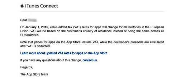 Il messaggio di Apple agli sviluppatori di applicazioni a proposito della nuova Iva europea.