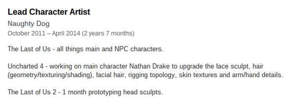 Profilo LinkedIn di un ex dipendente Naughty Dog che segnala lo sviluppo di The Last of Us 2