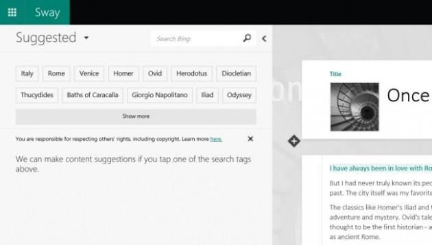 Sway - Suggerimenti di Bing