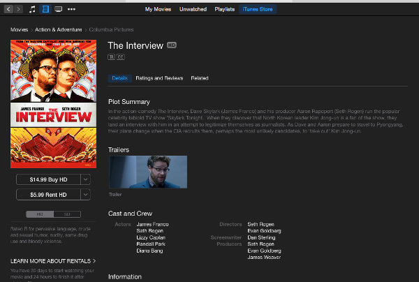 The Interview su iTunes Store