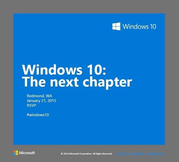 Windows 10, presentazione del 21 gennaio