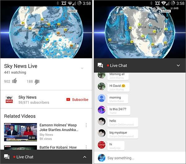Le chat live di YouTube per Android, introdotte con l'aggiornamento dell'app alla versione 6.0