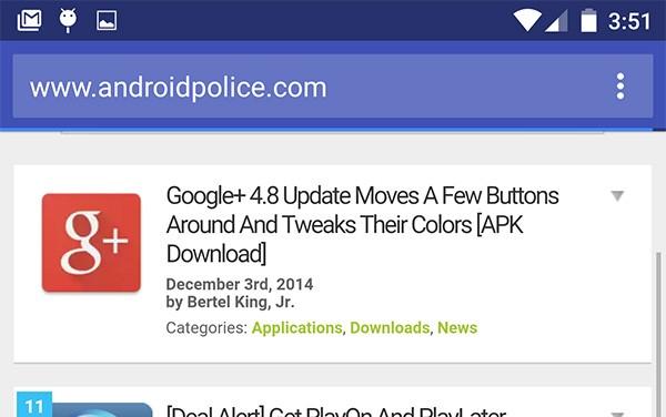 In Chrome Beta 40 su Android il pulsante menu è incluso nella barra degli indirizzi (su Lollipop)
