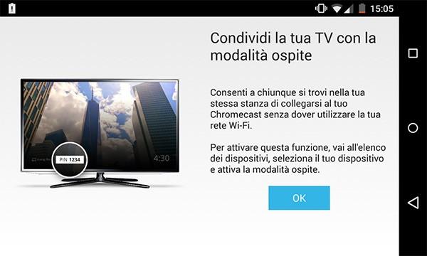 L'aggiornamento dell'applicazione Chromecast introduce il supporto alla modalità ospite