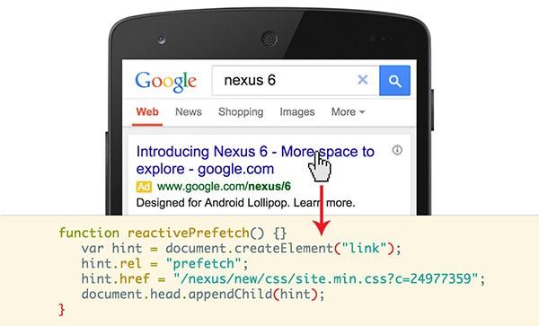 Il codice della tecnologia Reactive Prefetch che ha permesso a Google di migliorare la velocità di caricamento delle pagine durante le ricerche su dispositivi mobile
