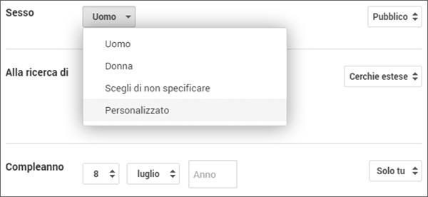 La nuova opzione per definire il proprio sesso su Google+