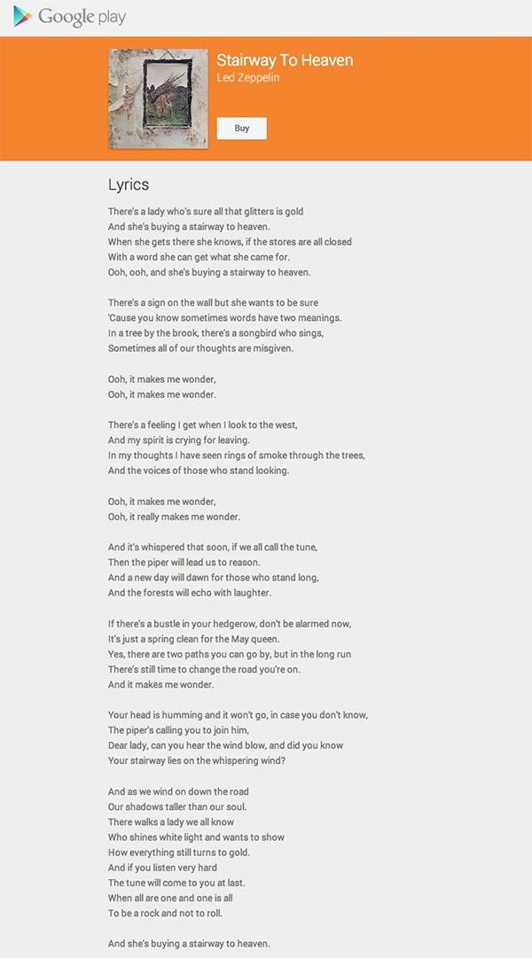 """Il testo completo di """"Stairway to heaven"""" dei Led Zeppelin su Google Play Music"""