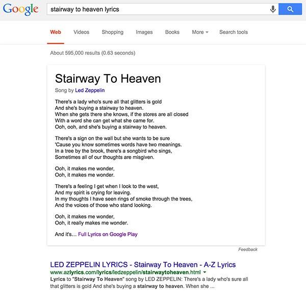 """Il testo di """"Stairway to heaven"""" dei Led Zeppelin mostrato nella SERP di Google"""