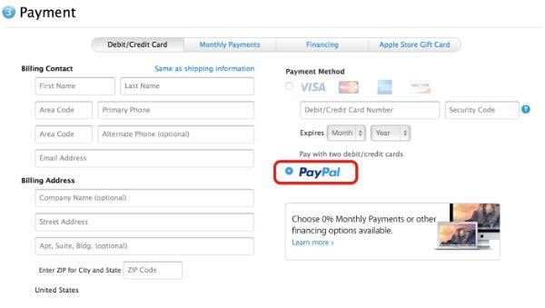 Negli Online Store di Apple si paga con PayPal