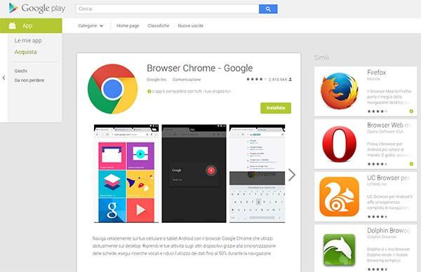 La nuova interfaccia delle schede relative alle applicazioni sulla versione Web dello store Google Play