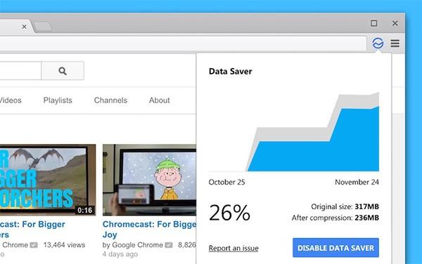 Lo screenshot pubblicato nel bug tracker di Chrome che anticipa l'arrivo di una funzionalità dedicata alla compressione dati su computer desktop e laptop