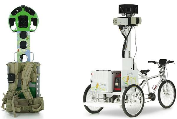 Lo zaino Trekker e il veicolo Trike utilizzati dal team di Google Street View
