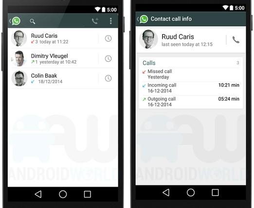 WhatsApp: la cronologia delle chiamate vocali in due screenshot non ufficiali