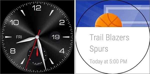 Due screenshot catturati su smartwatch equipaggiati con il sistema operativo Android Wear 5.0.1