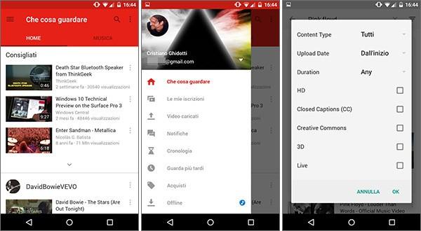 L'aggiornamento alla versione 6.0 introduce il Material Design nell'applicazione Android di YouTube, oltre ai filtri per la ricerca avanzata