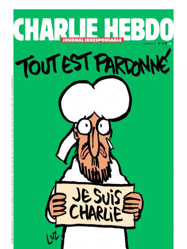La prima pagina del numero 1178 di Charlie Hebdo.