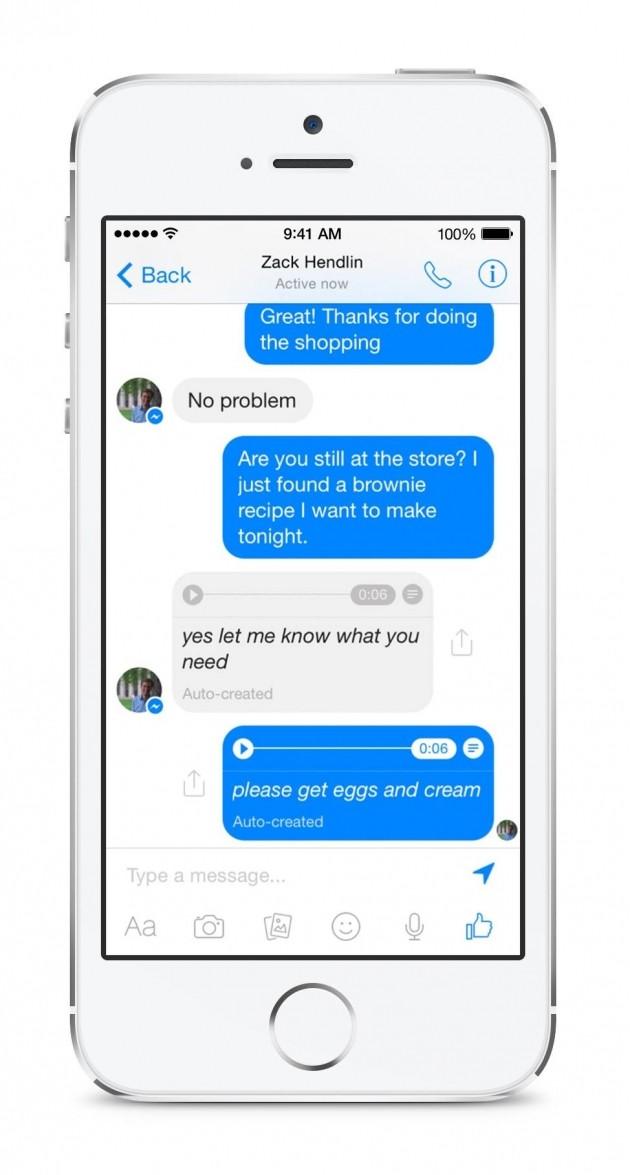 Trascrizione dei messaggi vocali su Facebook Messenger.