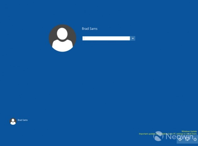 Windows 10 - Nuovo login screen