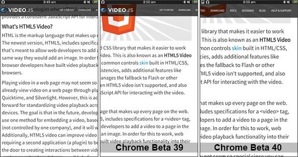 La gestione dello zoom sulle pagine contenenti elementi fissi in Chrome Beta 39 e Chrome Beta 40 per Android