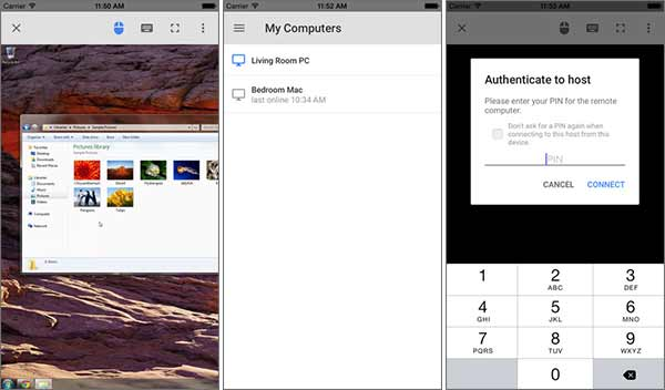 Screenshot della versione per iPhone dell'app Chrome Remote Desktop