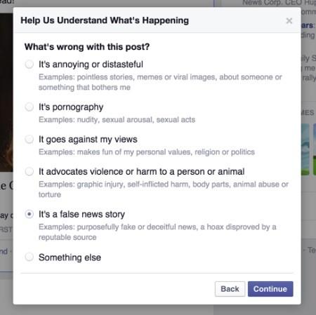 Facebook, segnalazione messaggi falsi