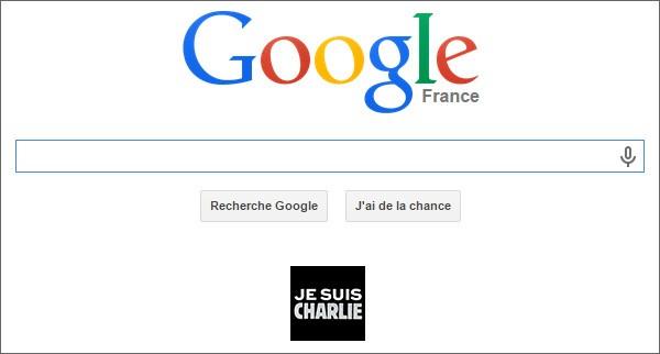 Il banner sulla homepage di Google Francia che esprime solidarietà allo staff di Charlie Hebdo