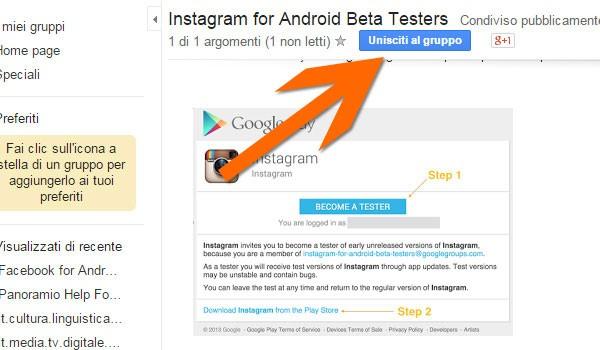 Il gruppo a cui unirsi per testare la beta di Instagram su Android