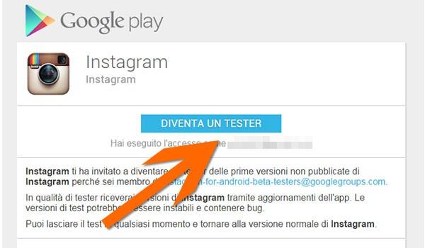 La pagina di Google Play per diventare un tester di Instagram Beta su Android