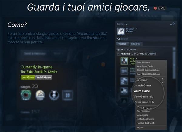 Lo streaming live delle partite con la funzionalità Broadcasting di Steam