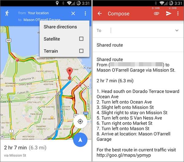 La funzionalità dedicata alla condivisione delle indicazioni stradali in Google Maps 9.3 per Android