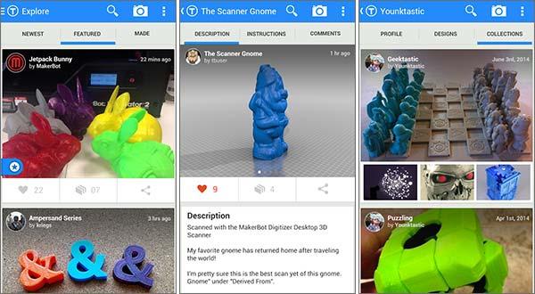 Screenshot per l'applicazione Thingiverse di MakerBot su smartphone Android