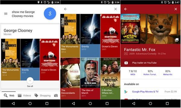 Le informazioni su film e attori mostrate in pieno stile Material Design dall'applicazione Ricerca Google per dispositivi Android