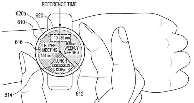 Un'immagine dal brevetto Samsung per uno smartwatch con display circolare