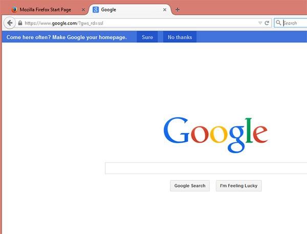 Google propone agli utenti Firefox di impostare il proprio motore di ricerca come pagina iniziale per la navigazione