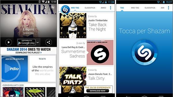 Screenshot per la versione Android di Shazam