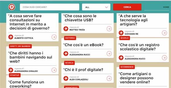 Il sito Italiani Digital è stato realizzato da Telecom Italia, socio sostenitore dei Digital Champion. La sua funzionalità è espressamente web-based e Q&A, intervenendo sulla fascia della popolazione meno adusa alle tecnologie. Ma comunque con un pc o uno smartphone.