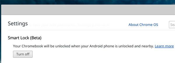 La funzionalità Smart Lock può essere attivata o disattivata su un Chromebook con Chrome OS 40