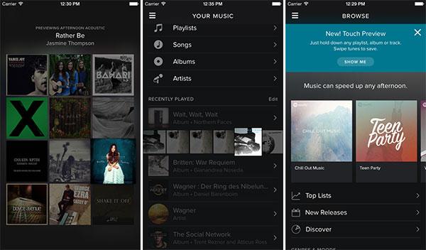Screenshot per la nuova funzionalità Touch Preview di Spotify