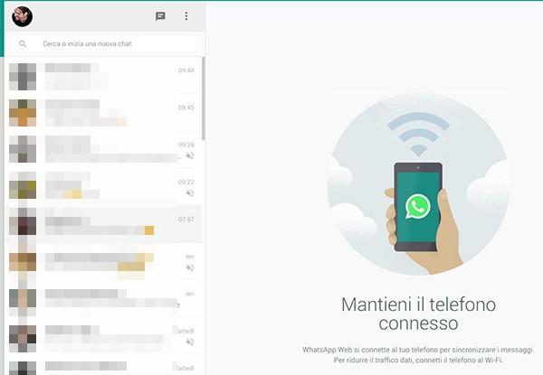 La schermata principale di WhatsApp Web su browser, con l'elenco delle conversazioni
