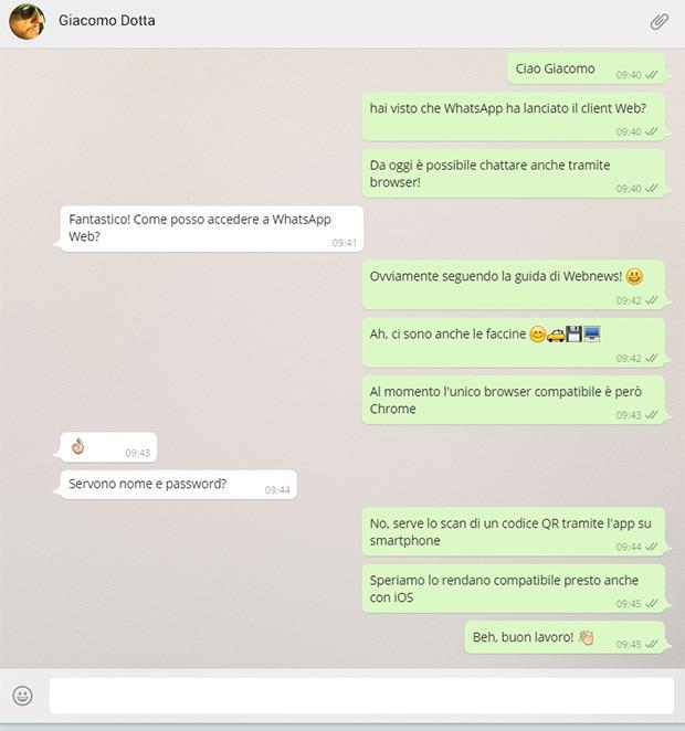 Una singola conversazione visualizzata nell'interfaccia di WhatsApp Web