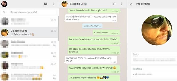 WhatsApp Web permette di consultare le informazioni dei propri contatti